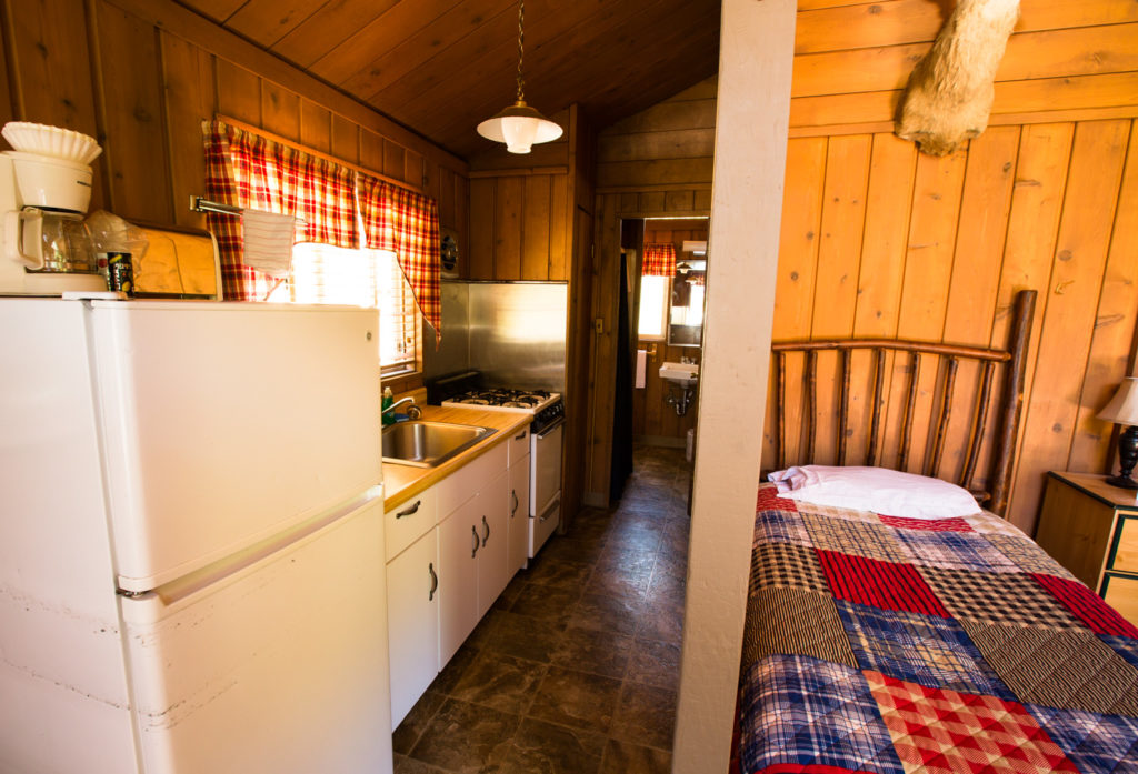 Brook Cabin twin and kitchen